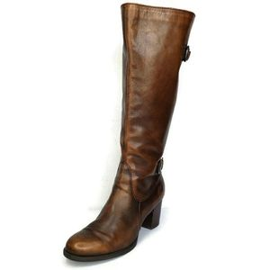 BORN Distressed Leather Zip Up Knee High  Boots